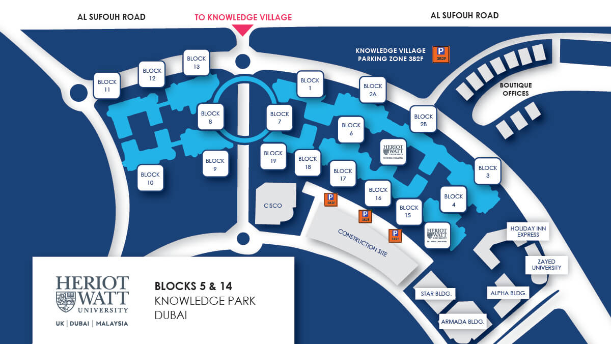Knowledge Park parking map for Heriot-Watt University, Dubai