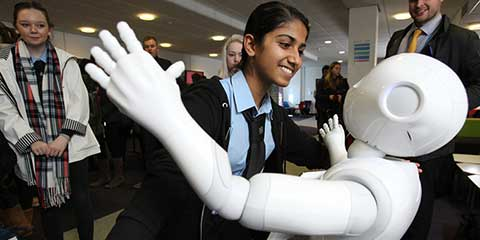School girl at a Year of Robotics event