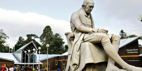 James Watt statue in front of main entrance, Edinburgh Campus
