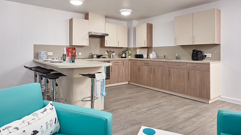 Kitchen area in self-catered student room with en suite, shared flat of 5