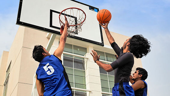 Dubai Campus students playing basketball