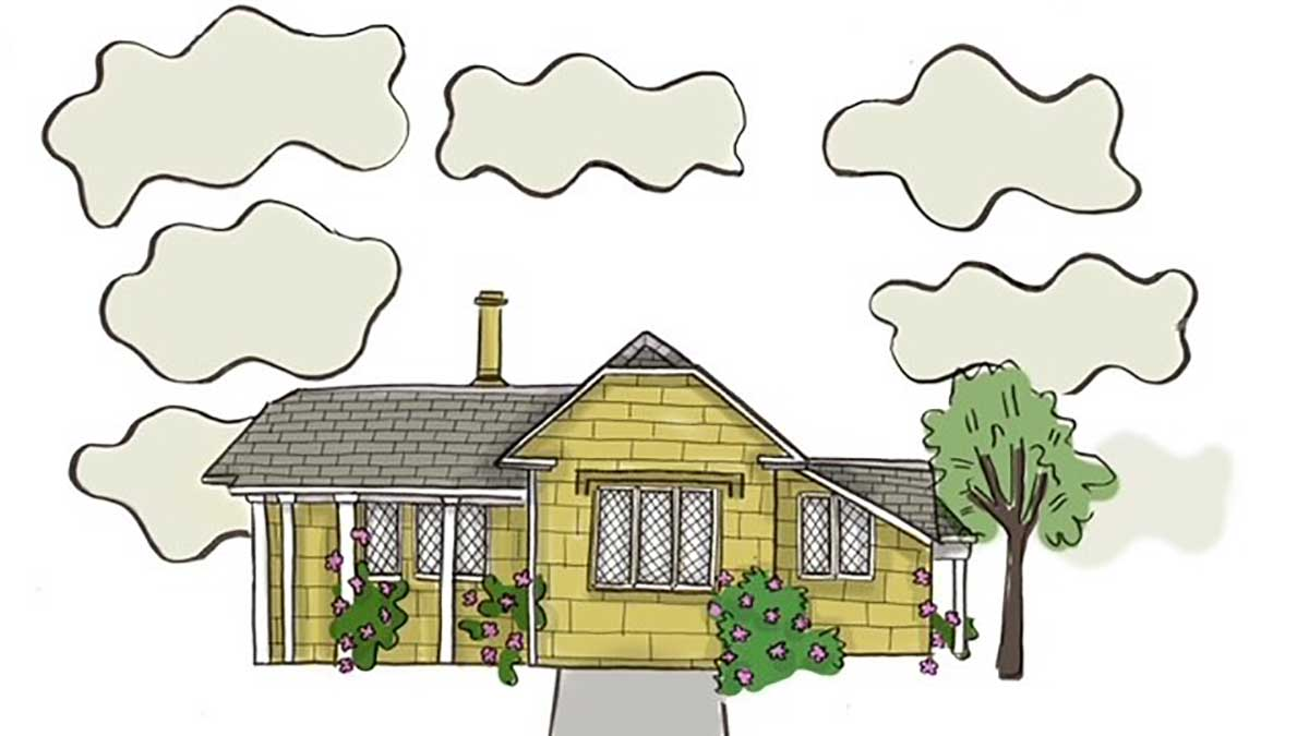 Colour cartoon of Heriot-Watt music cottage