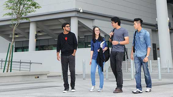 Students walking outside Malaysia Campus