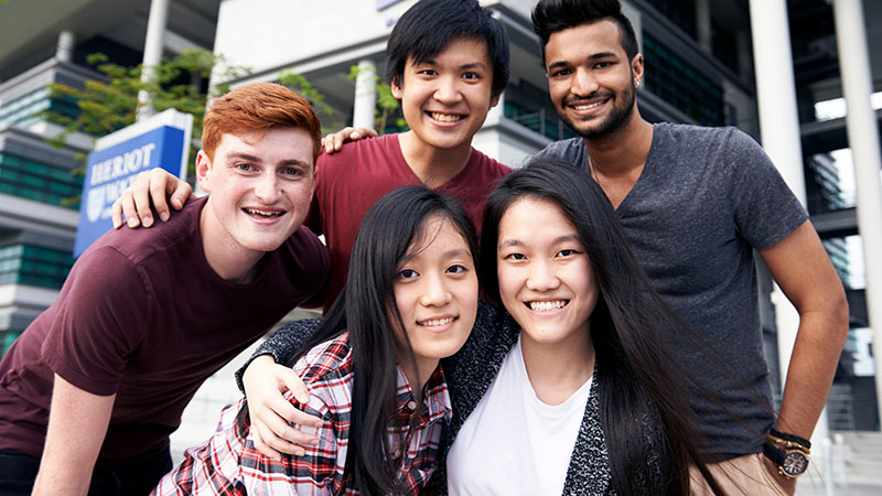 Group of students outside Malaysia Campus entrance